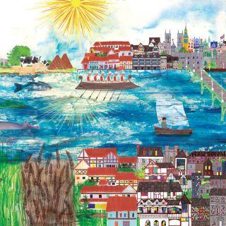 Watercolour mixed art River thames through time