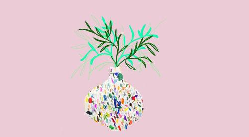 Planta de casa em animação tradicional vaso