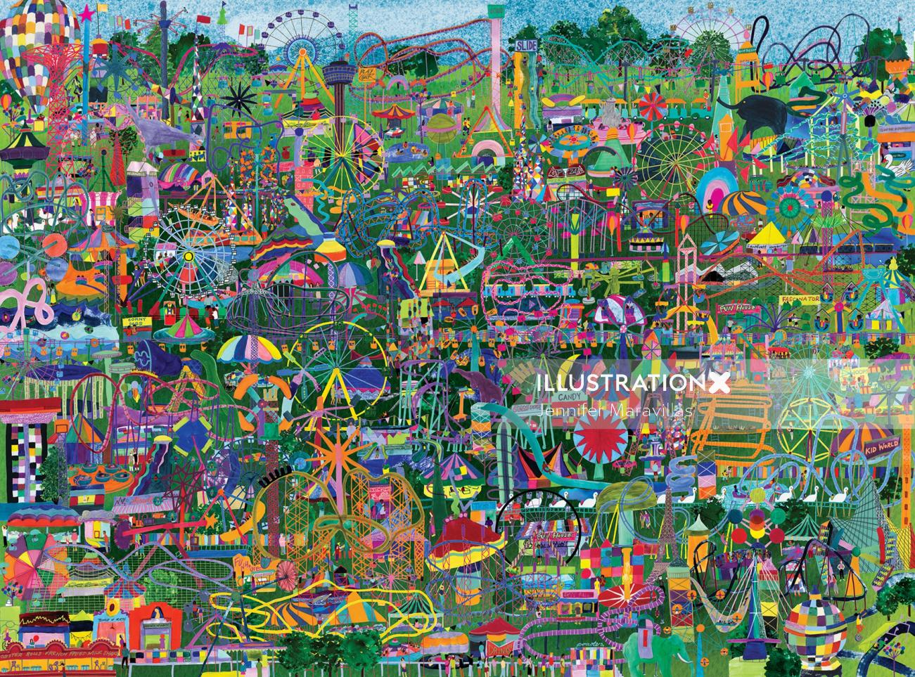 Amusement parks, illustration, puzzle
