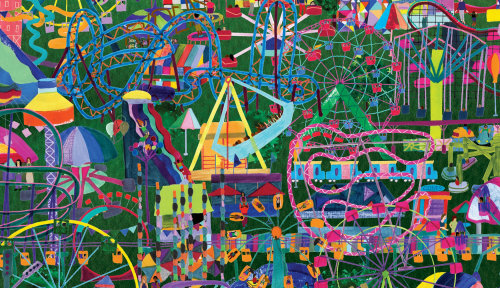 Parques de diversão, ilustração, quebra-cabeça