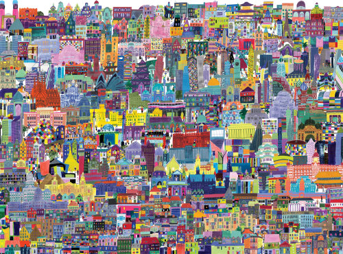 Buildings of the world, illustration, puzzle