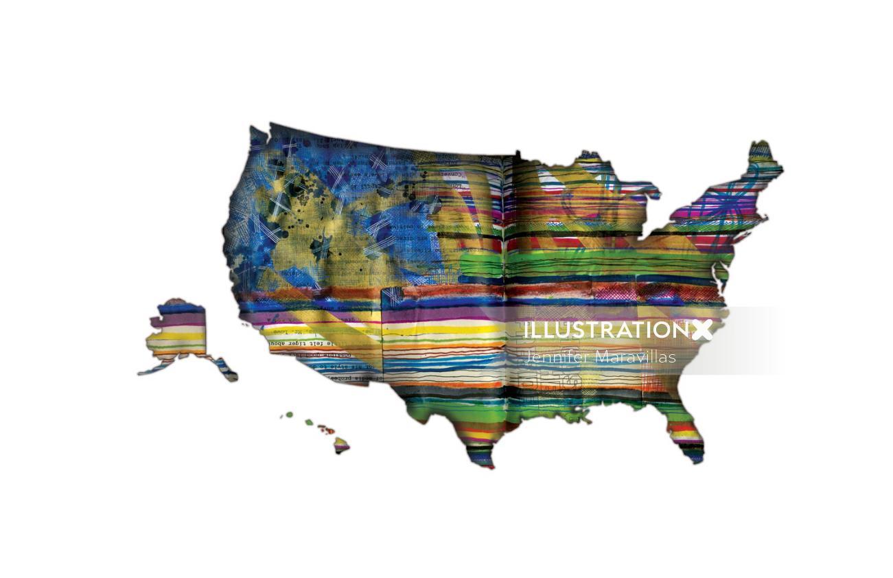 Watercolor map by Jennifer Maravillas