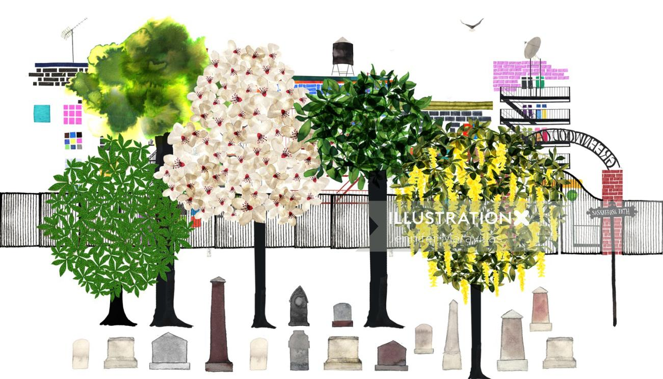 Trees illustratin by Jennifer Maravillas