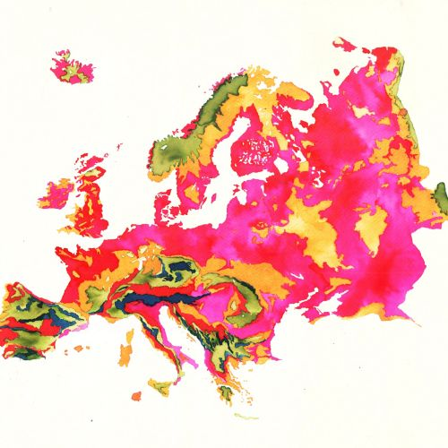 Watercolour Map of Europe By Jennifer Maravillas