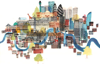 London architecture illustration by Jennifer Maravillas