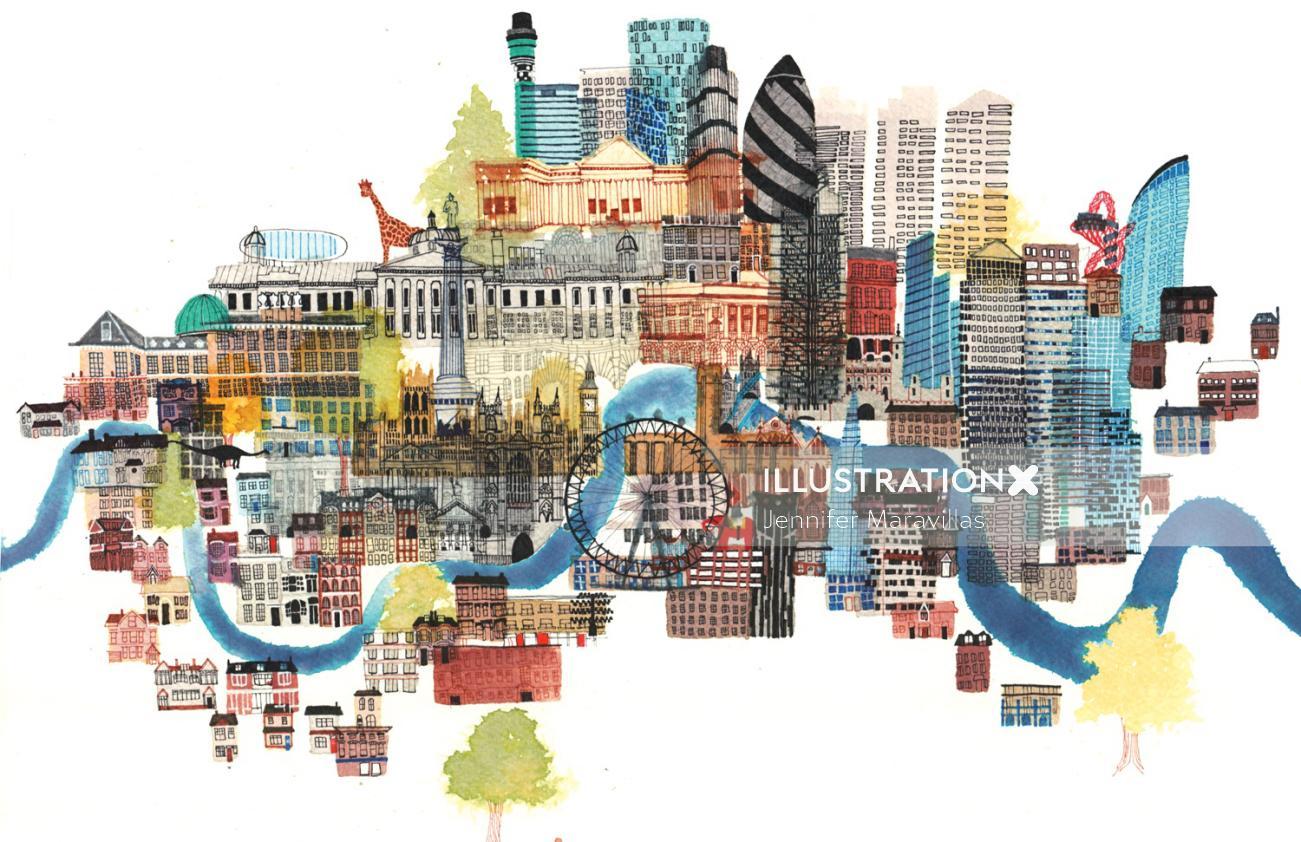 London architecture illustration by Jennifer Maravillas