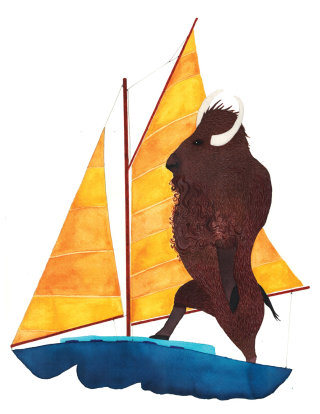 Bison on a boat painting