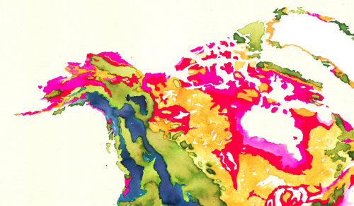 Watercolour graphic Detail, North American continent