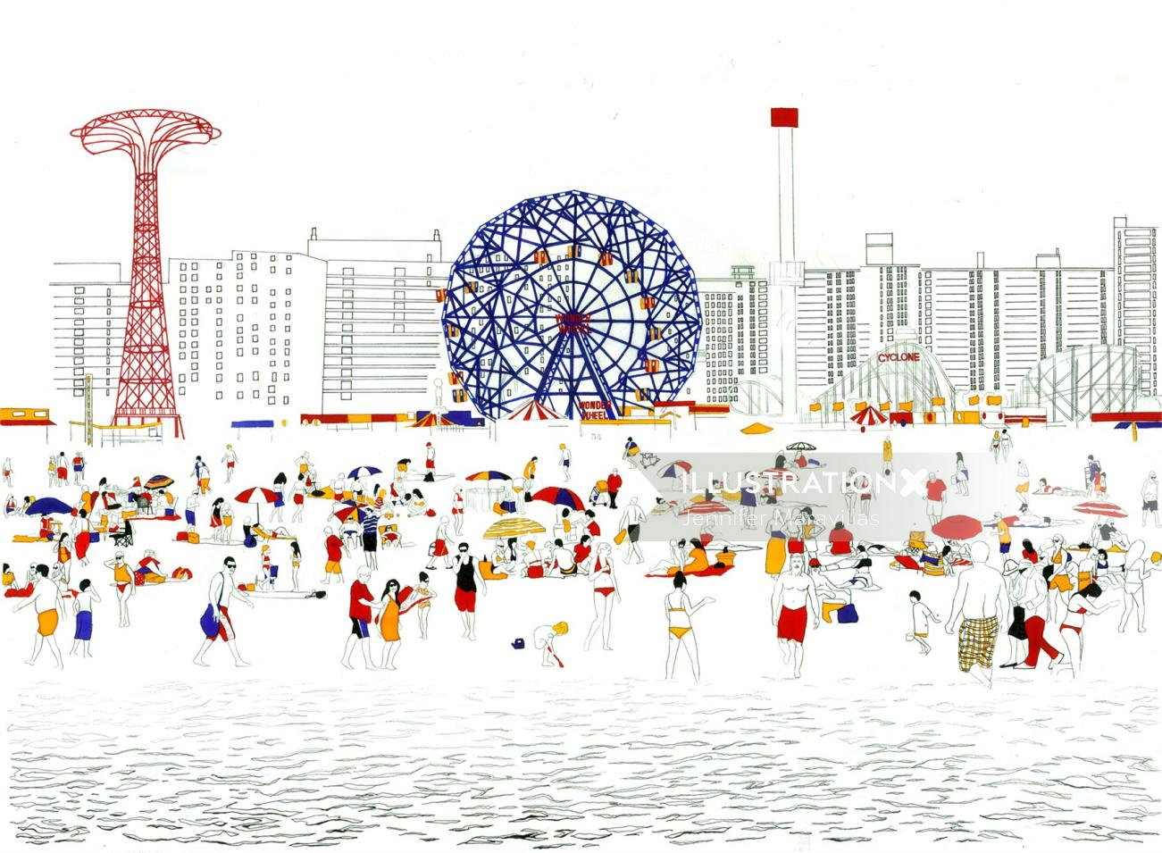 Coney Island illustration by Jennifer Maravillas