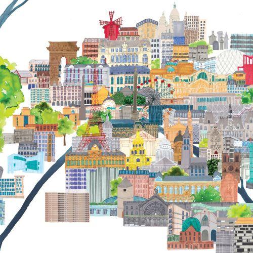 Paris cityscape  illustrations by Jennifer Maravillas