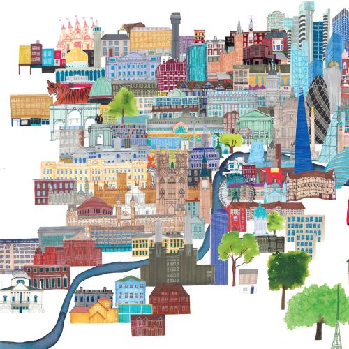 London cityscape illustrations by Jennifer Maravillas