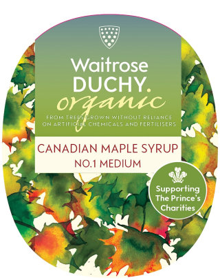 An illustration for Waitrose Duchy Canadian maple syrup