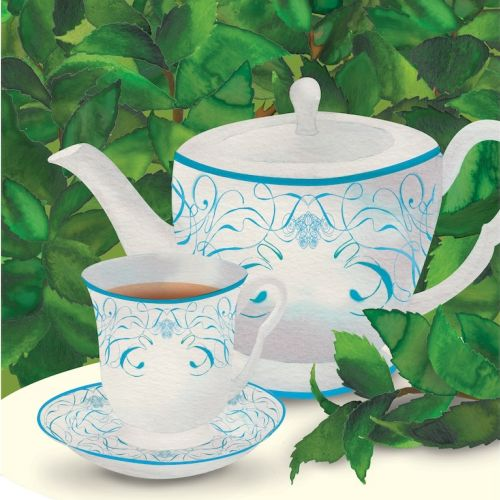 Tea cup and pot illustration by Jennifer Maravillas