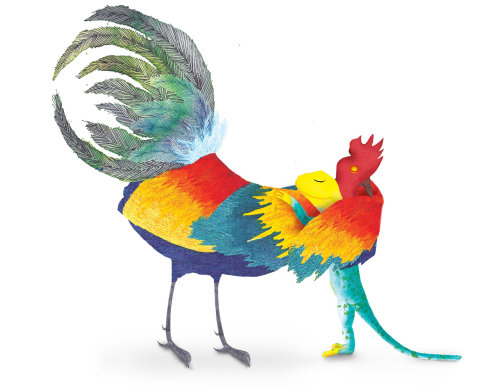 An illustration of Rooster and lizard hug