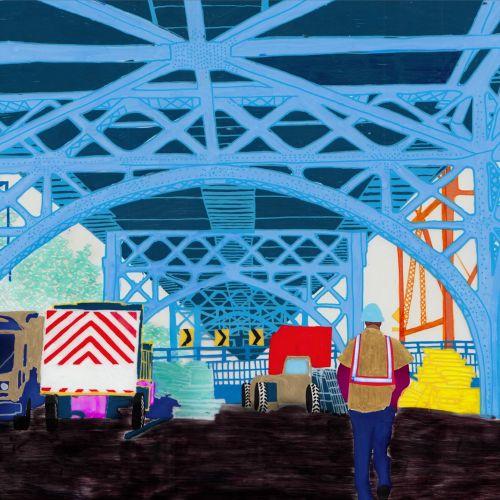 An illustration of railway foot over bridge