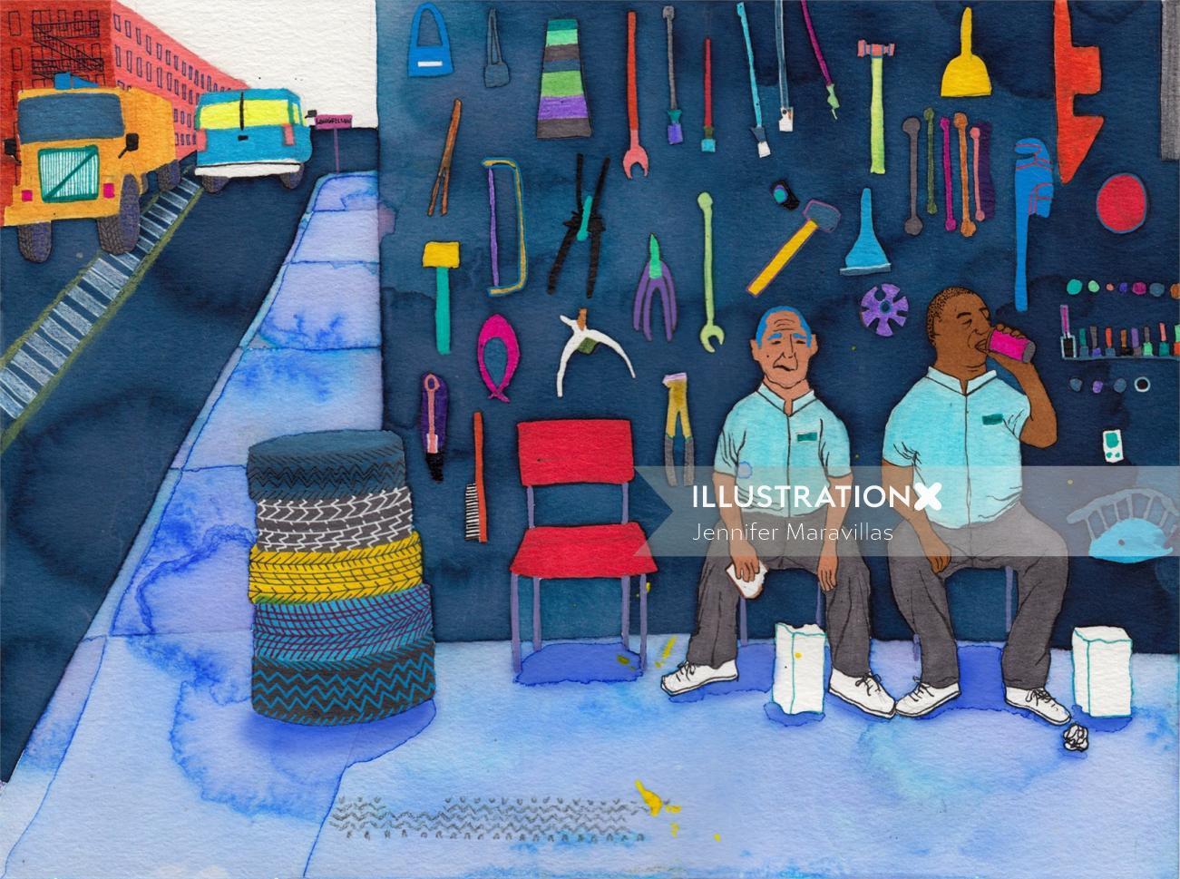 An illustration of motor technicians
