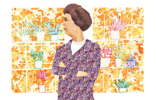 Watercolour painting of woman with plants