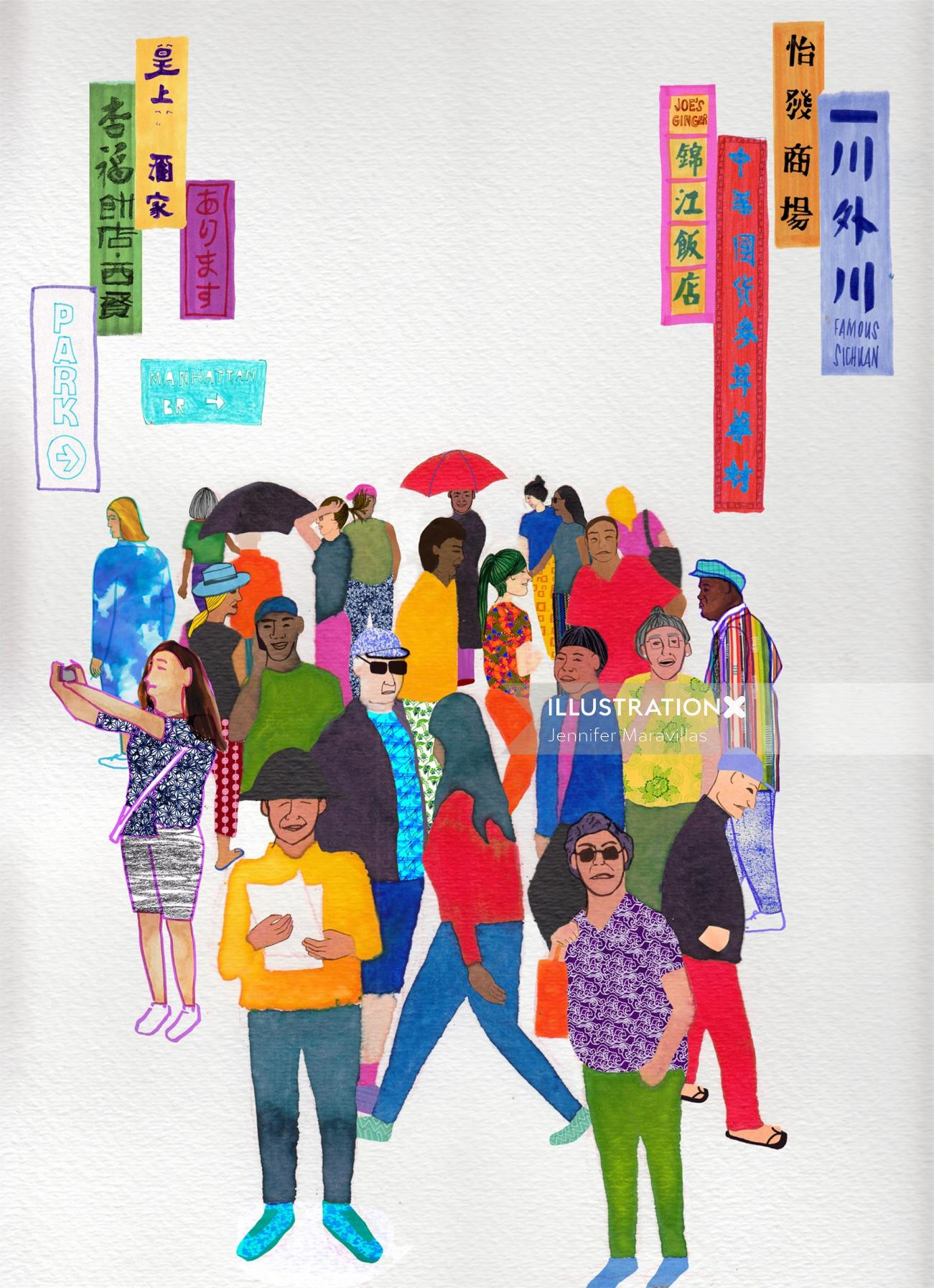 An illustration of people
