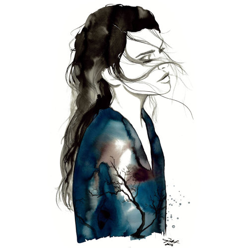 Sad Girl fashion illustration by Jessica durrant