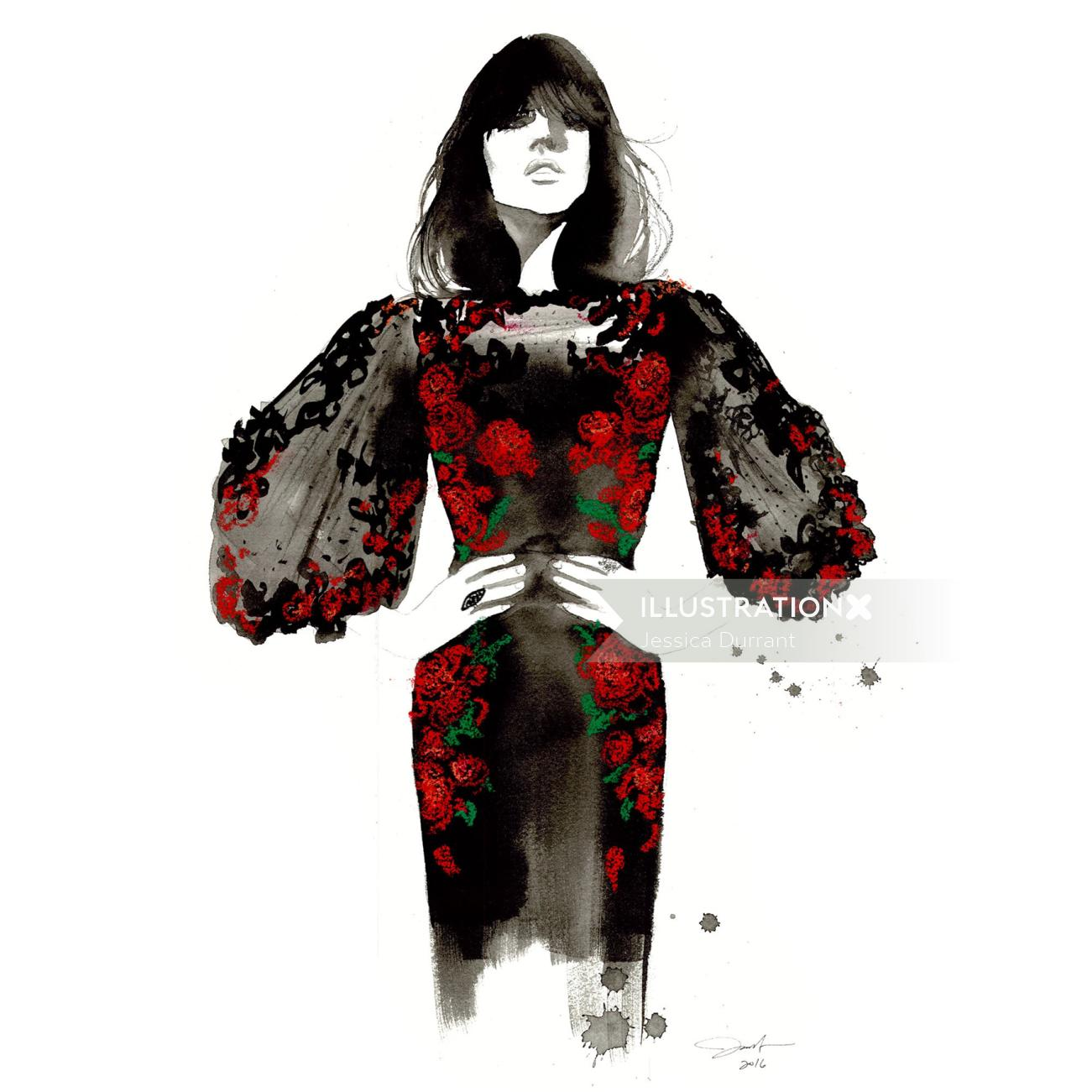 Fashion painting of woman with dark roses