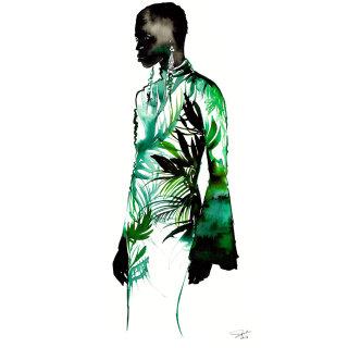 Lush Watercolor and mixed media fashion illustration