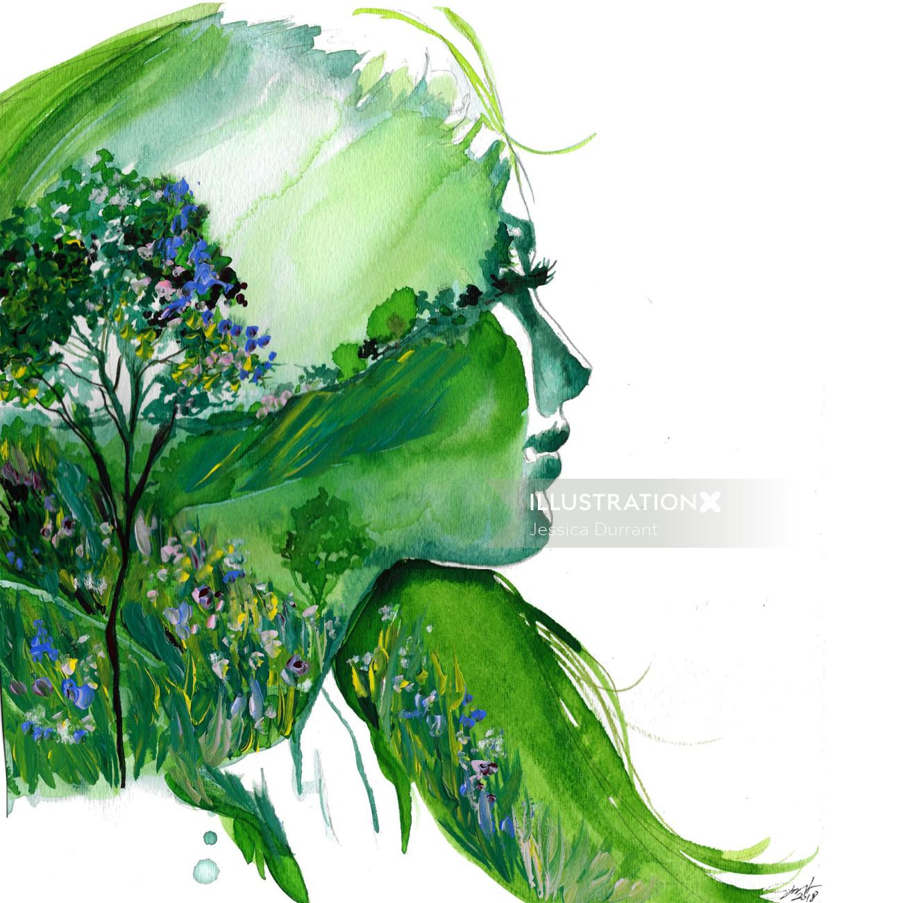 Nature Girl gouache on paper