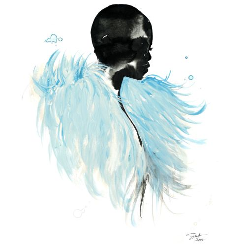 Watercolor art of Ice Blue Feathers and gouache