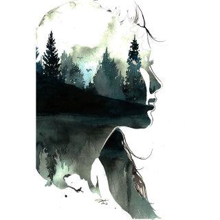 Woman portrait on paper