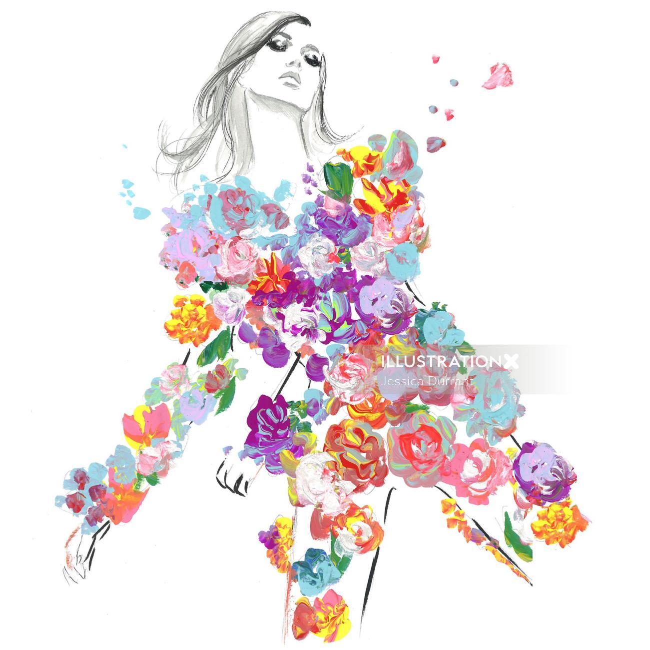 A flower suit gouache by Jessica Durrant