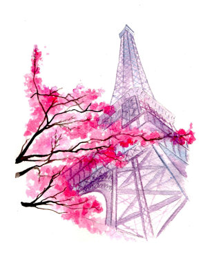 Watercolor painting of Eiffel Tower