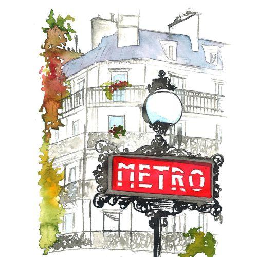 Line art of Paris metro