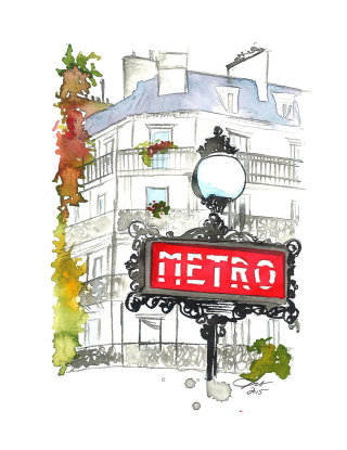 Line art of Paris metro