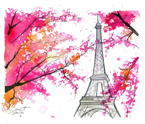 Floral painting of Eiffel Tower