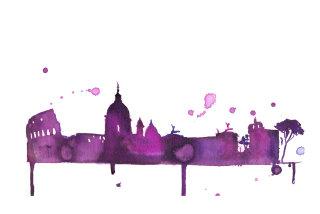 watercolor cityscape by Jessica Durrant