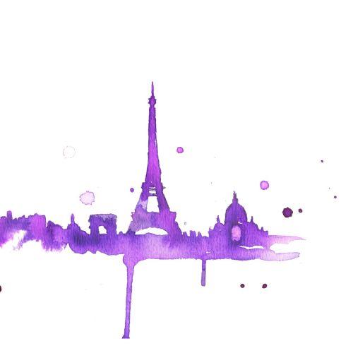 Painterly illustration of Eiffel Tower