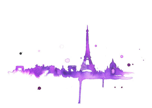 Painterly illustration of Eiffel Tower