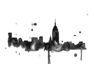 New York watercolor cityscape by Jessica Durrant