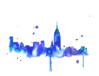 New York realistic blue painted cityscape