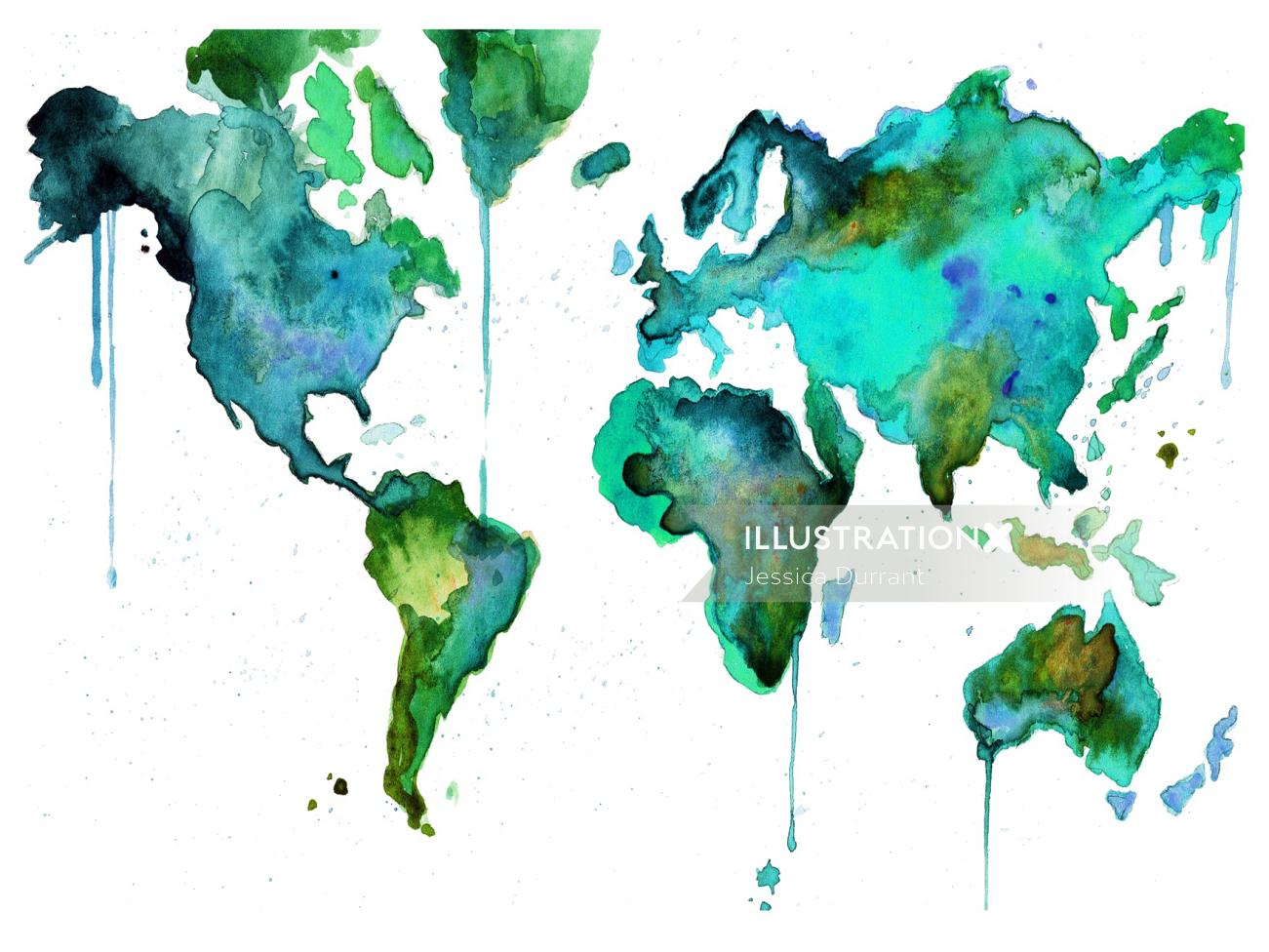 Green painted world map by Jessica Durrant
