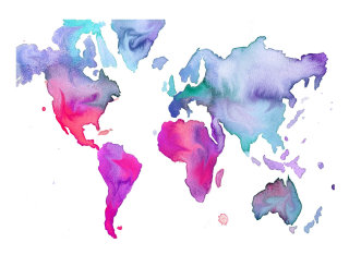 watercolor painted world map