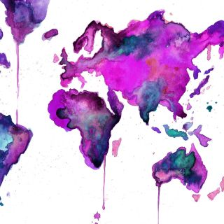 Watercolor world map done on paper