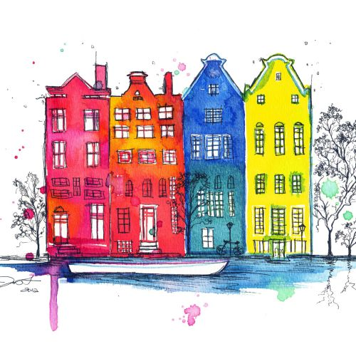 Watercolour drawn of Amsterdam buildings