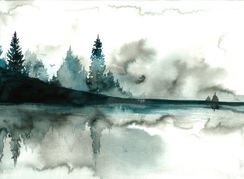 Beyond the Pines mountain watercolor art