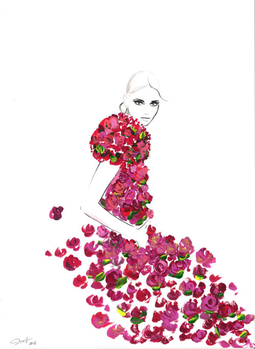 Beauty dress with roses