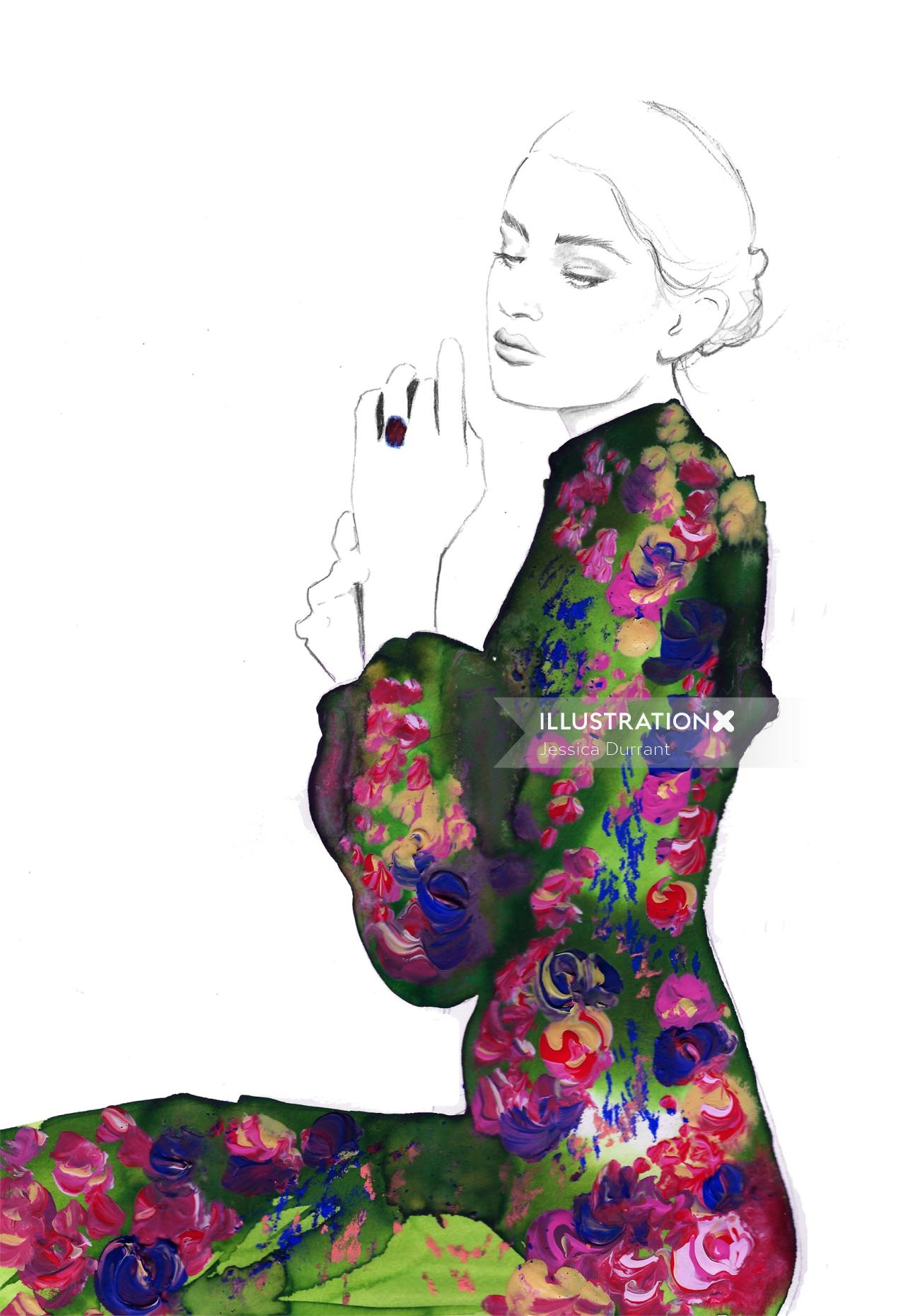 Stylistic fashion beauty in floral gown