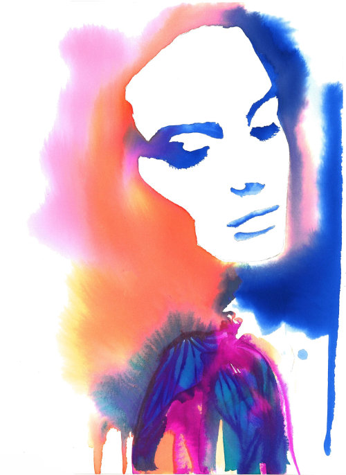 Beauty of woman in contrasts within watercolour