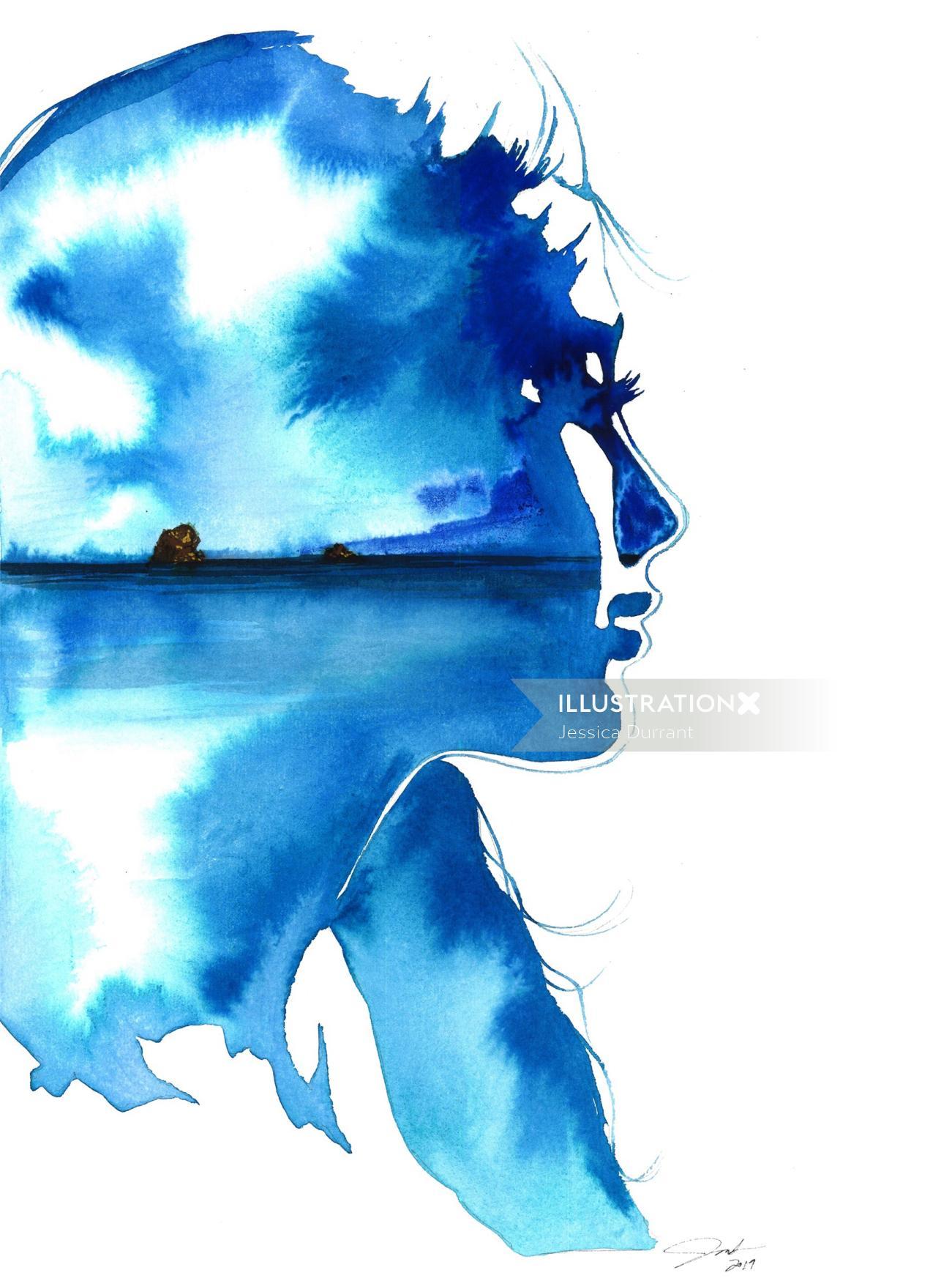 Water colour Woman in Bermuda Blues