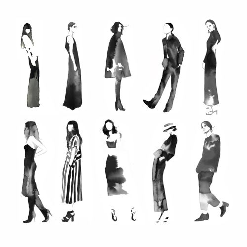 Fashion illustration of Black and white chicks