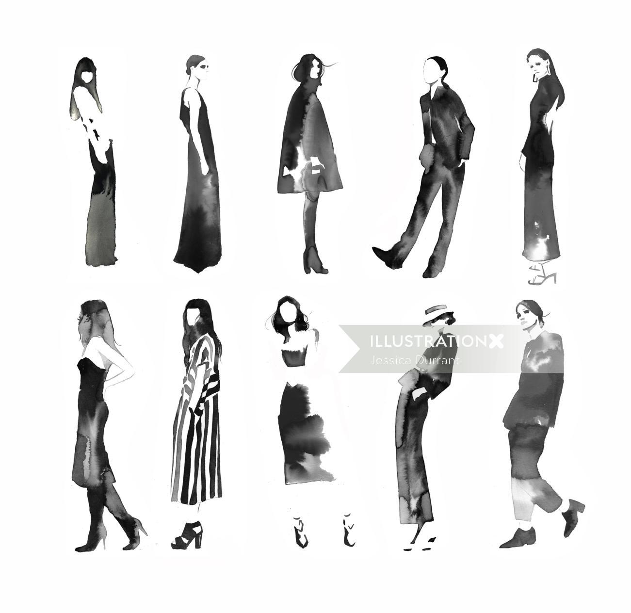 Fashion illustration of Black and white chicks