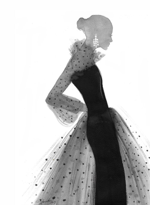 Stylistic Ink drawn Polka Dot Tulle woman